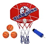 "Kipi Toys Slam Dunk Mini Basketball Hoop Set-Over the Door Plastic Toy Backboard 14 X 10"" with Net, 3 Ball Pump. Simple Assembly, Easy Clip-on Mount Game for Kids Children Or Adults"