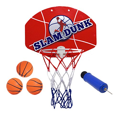 Slam Dunk Mini Basketball Hoop Set - Over The Door Plastic Toy Backboard 14 X 10
