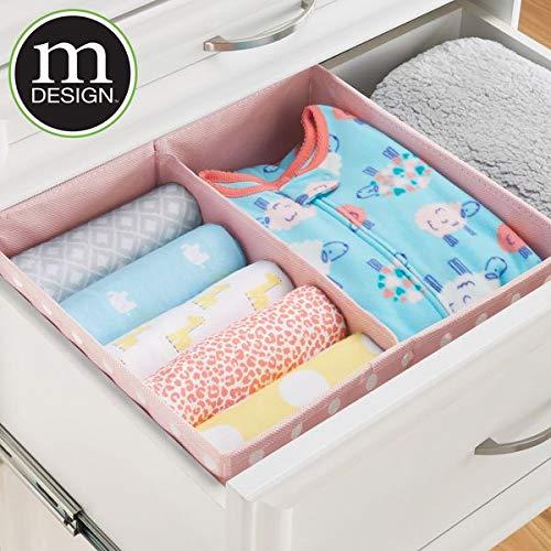 MetroDecor mDesign Caja de almacenaje para Habitaciones Infantiles o baños - Cesta organizadora con 2 Compartimentos - Organizadores de armarios en Fibra ...
