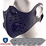 Sireck Dust Mask + Extra 6pcs Filter, PM2.5 Anti Pollution Dustproof Respirator Safety Half Face Mask, Outdoor Sports Ski Running Cycling Mask for Men Women