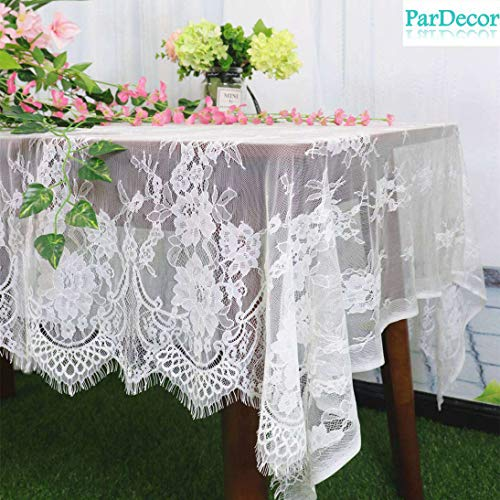 (ParDecor Lace-Tablecloth-Rectangular 60x126-Inch White Embroidered Lace Tablecloth Elegant Birthday Table Decoration Netting Lace Table Cloth Vintage Wedding White Lace Tablecloth Rectangular)
