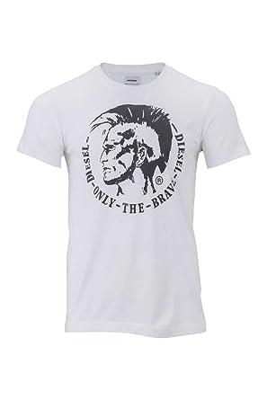 Diesel Herren Shirt Motiv T-Shirt T-ULYSSE Maglietta Cotton, Farbe: Weiss