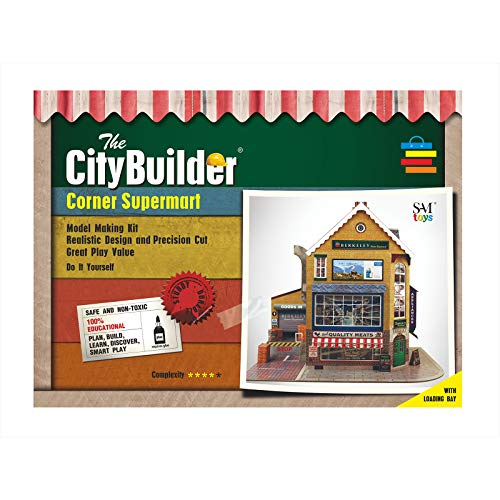 The CityBuilder Corner SUPERMART Cardboard Model Making Kit - O Scale Model Railroad Building