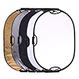 Portable 5-in-1 36''x47''/90x120cm Multi-Disc Oval Light Reflector with 3 Handle for Photography Photo Studio Lighting & Outdoor Lighting -Translucent, Silver, Gold, White and Black