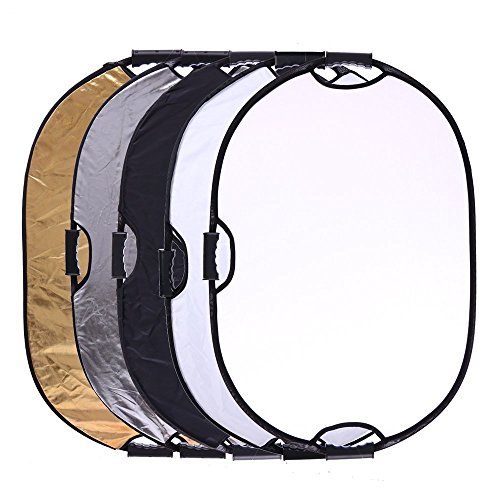 Portable 5-in-1 36''x47''/90x120cm Multi-Disc Oval Light Reflector with 3 Handle for Photography Photo Studio Lighting & Outdoor Lighting -Translucent, Silver, Gold, White and Black by TRUMAGINE