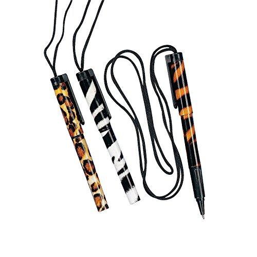 Fun Express Animal Print Safari Pen Necklace (Set of 12)