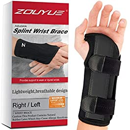 Carpal Tunnel Wrist Brace, Night Sleep Wrist Support, Removable Metal Wrist Splint, Hand Brace for Men, Women, Wrist Tendonitis, Sports Injuries Pain Relief – Left