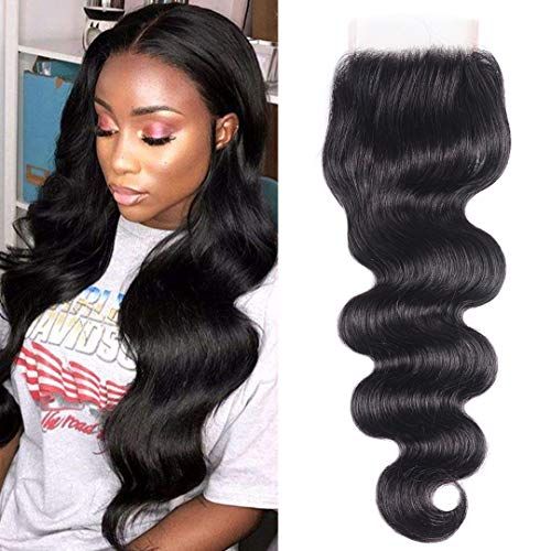 One Piece Bundle - Jolia Hair Body Wave Lace Closure One Piece Only 16inch- Natural Hairline- 8A 100% Virgin Human Hair 4x4 Free Part Lace Closure Natural Black 40g/pc