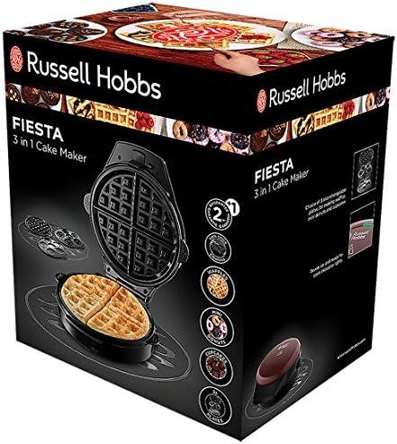 Russell Hobbs Gaufrier 3en1 900W, Plaque Gaufre, Cupcake et Donut - 24620-56 Fiesta