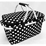 HomeShapes Foldable and Insulated Picnic/Market/Cooler Basket with Aluminum Frame (Black with White Polka Dots)