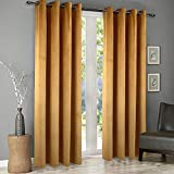 SINGINGLORY Velvet Curtains 2 Panels Set, Blackout Thermal Insulated Velour Grommet Drapes with 2 Tiebacks for Bedroom and Living Room (52 x 84 inch,Yellow)
