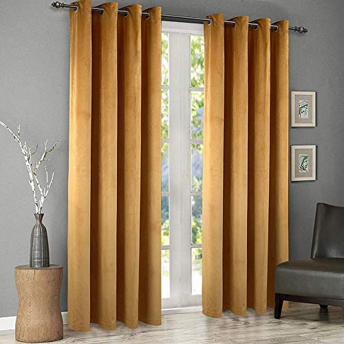 SINGINGLORY Velvet Curtains 2 Panels Set, Blackout Thermal Insulated Velour Grommet Drapes with 2 Tiebacks for Bedroom and Living Room (52 x 84 inch,Yellow) (Gold Velvet Curtain Panels)