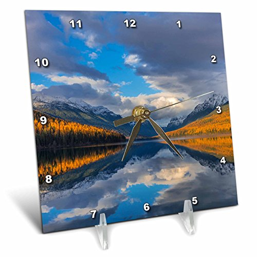3dRose Danita Delimont - Lakes - Autumn colored mountains reflect into Bowman Lake, Glacier NP, Montana - 6x6 Desk Clock ()