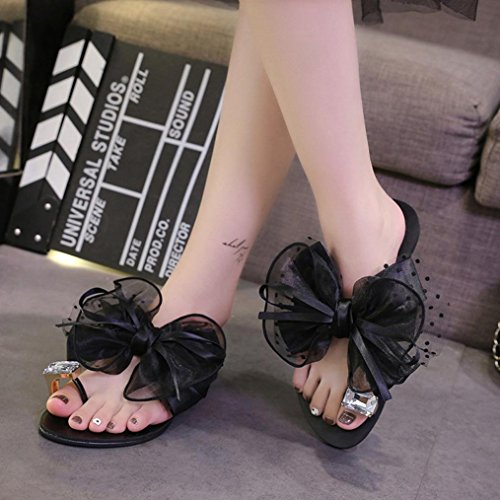Baigoods Hot Sale 2018 Fashion Summer Women Butterfly-knot Flower Bow Flat Heel Toe Sandals Slipper Beach Shoes Casual Shoes (US:10, Black)