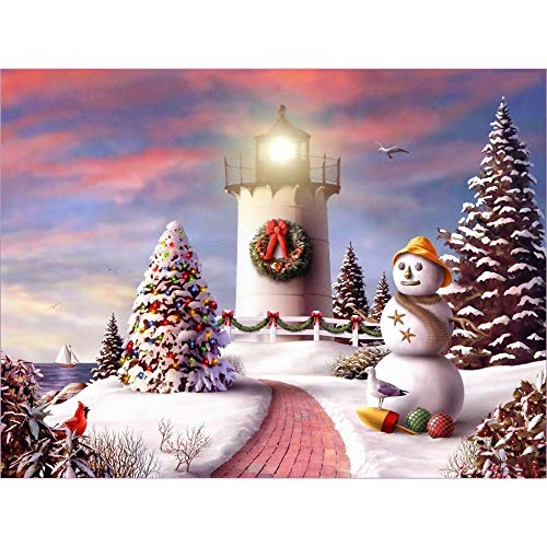 Lavany Christmas 5D Diamond Painting Kits,Full Drill 5D DIY Diamond Paints by Number Kits Embroidery Rhinestone Pasted Wall Decor (Lighthouse Snowman)