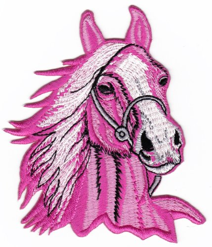 Pink Horse Head Riding Farm Sew-on Iron-on Patches Kids Children Baby Embroidered Applique