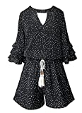 Smukke, Big Girls Gorgeous Floral Printed Tier Ruffle Sleeves Romper (Many Options) with Pockets, 7-16 (12, Black Polka Dot)