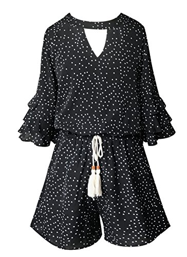 (Smukke, Big Girls Gorgeous Floral Printed Tier Ruffle Sleeves Romper (Many Options) with Pockets, 7-16 (8, Black Polka Dot))
