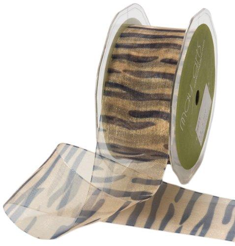 May Arts 1-1/2-Inch Wide Ribbon, Sheer Tiger Print Sheer Tiger
