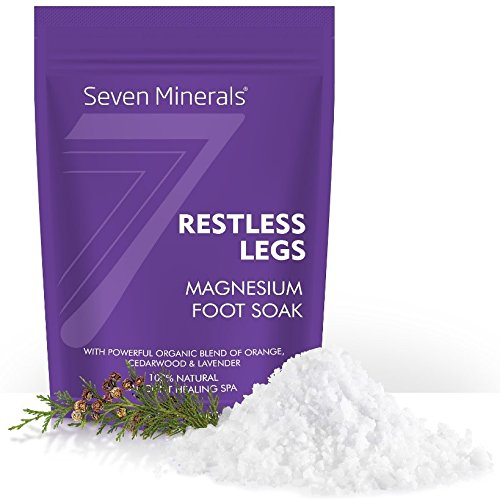 (New RESTLESS LEGS Magnesium Chloride Flakes 3lb - Absorbs Better than Epsom Salt - Unique Foot Soak Formula For RLS Syndrome and Leg Cramps Treatment - With USDA Organic Orange, Cedarwood & Lavender)