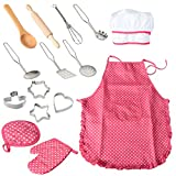 FunsLane 15 Pcs Kids Cooking and Baking Set with Apron for Girls, Chef Hat, Oven Mitt, and Other Cooking Utensils for Toddler Dress up Pretend Play, Children Chef Career Role Play, Great Gift