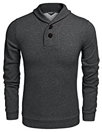 COOFANDY Men's Casual Shawl Collar Sweatshirts Button Point Long Sleeve Pullover