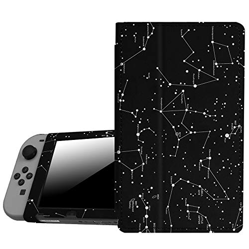 Fintie Protective Case for Nintendo Switch - Premium PU Leather Slim Fit Play Stand Cover for Nintendo Switch 2017, Constellation