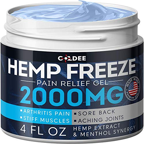 Pain Relief Hemp Oil Gel - 2000 MG, 4 OZ - Max Strength & Efficiency - Natural Ointment - Hemp Extract for Arthritis, Knee, Joint & Back Pain - Made in USA - Hemp Cream for Inflammation & Sore Muscles