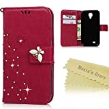Samsung Galaxy S4 Wallet Case - Mavis's Diary 3D Handmade Bling Crystal Diamonds Butterfly Fashion Floral Hot Pink PU Leather with Hand Strap Card Holders Magnetic Clip Protective Cover