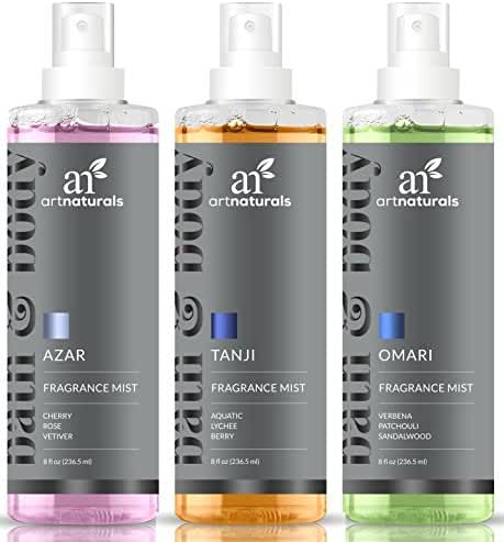 ArtNaturals Fragrance Mists and Air Freshener – for Bath, Body, Home & Work – Signature Scents of Azar, Tanji and Omari – All Natural and Moisturizing for Smooth Skin - Gift Set of 3 x 8oz