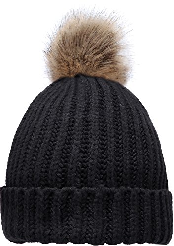 (NEOSAN Women's Winter Ribbed Knit Faux Fur Pompoms Chunky Lined Beanie Hats S)