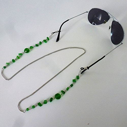 """Green 30"""" artificial jade decorative beads fashion sunglasses or reading glasses metal holder chain necklace with 2 rubber non slip rings and 2 lobster claws for men and women"""