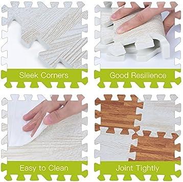 Color : White 9Pcs 30x30cm Printed Wood Grain Interlocking Soft EVA Foam Floor Puzzle Mats For Gym Equipment Kids Play Three Color
