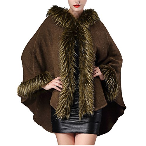 Hooded Cashmere Feel Shawl Wrap - HOMEYEAH Womens Faux Fox Fur Trimmed Winter (Faux Fur Trimmed Green Cape)