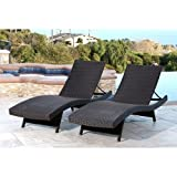 Palermo Outdoor Espresso Adjustable Wicker Chaise (Set of 2)