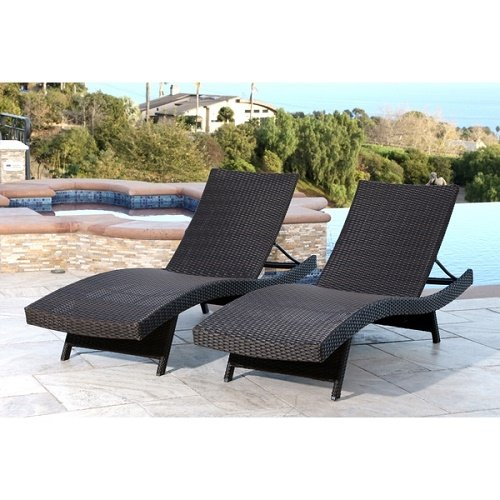 Palermo Outdoor Espresso Adjustable Wicker Chaise (Set of 2) by Abbyson Living