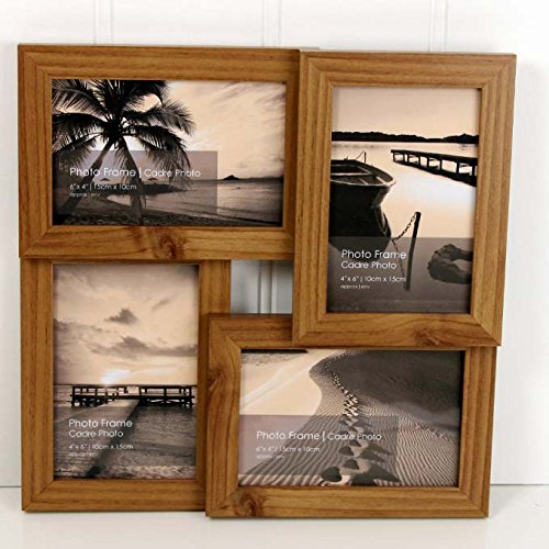 """-[ Standing & Wall Mounted 4 Picture Photo Frame 4"""" x 6"""" Wooden Effect Multi Quad Lay"""