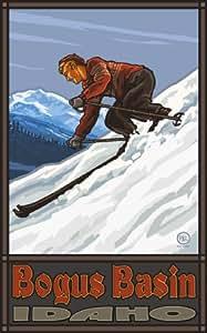 Northwest Art Mall Bogus Basin Idaho Downhill Skier Man Artwork by Paul A Lanquist, 11-Inch by 17-Inch