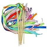 Bilipala Wedding Streamers Wands Twirling Ribbon Wand Fairy Princess Magic Wand for Wedding Celebrations Parties, 12 Counts