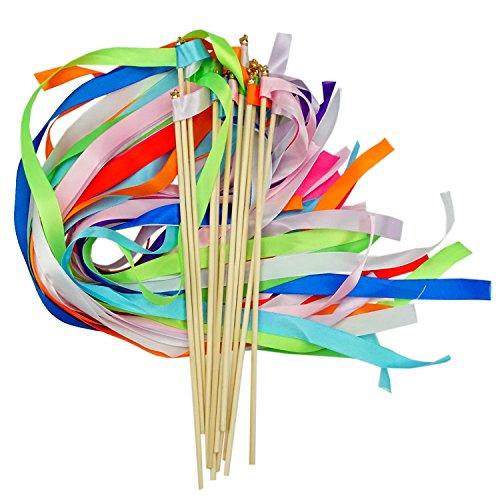 Bilipala Wedding Streamers Wands Twirling Ribbon Wand Fairy Princess Magic Wand for Wedding Celebrations Parties, 12 Counts by Bilipala