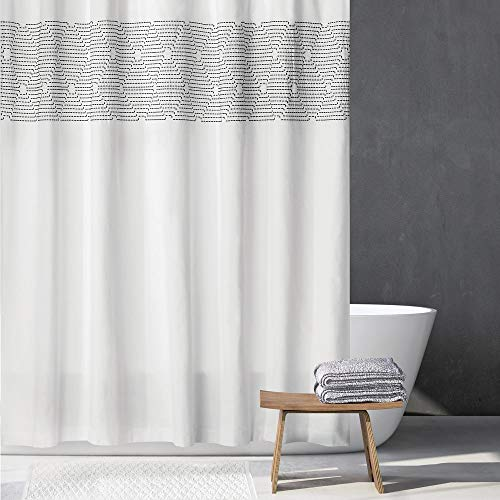 mDesign Embroidered 100% Cotton Shower Curtain, Decorative Soft Fabric, for Bathroom Showers and Bathtubs, Super Soft, Easy Care, Modern Geometric Print - 72