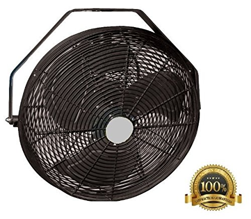 POW18B 18 inch Black Indoor & Outdoor Wall, Ceiling, Or Pole Mount Fan 3120 CFM 3 Speed, Industrial Grade,  Design for Restaurant, Barns,  Back Yard, Works with Misters by PMX