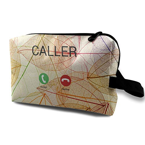 Womans Large Capacity Pencil Pouch Incoming Phone Call Interface Multi-Functional Travel Bag White