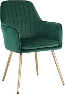 Five Stars Furniture Velvet Dining Chair,Accent Chair, Modern Leisure Armchair Living Room Chair,Home Desk Chair,Golden Metal Legs (Emerald Green) Set of 1