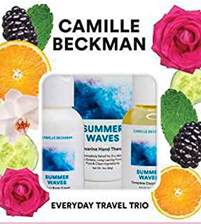 product image for Camille Beckman Everyday Collection Travel Trios, Summer Waves, Glycerine Hand Therapy 3 oz, Silken Body Cream 2 oz, Complete Cleansing Gel 2 oz
