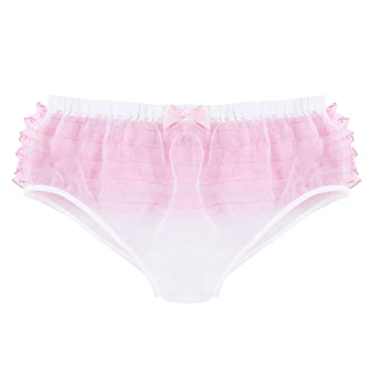 20a85660c3 Alvivi Men s Ruffle Lace Bikini Brief Jockstrap Sissy Pouch Organza Skirted Underwear  Crossdress Panties White Medium