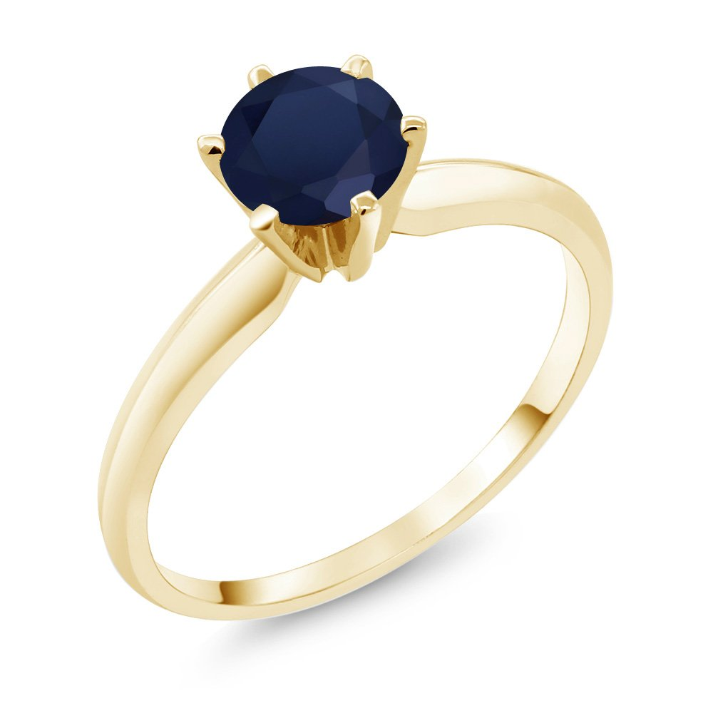 1.00 Ct Blue Sapphire 14K Yellow Gold Engagement Women's Solitaire Ring (Ring Size 9)