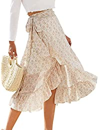 Women's High Waist Boho Floral Print Long Wrap Skirt Tie Side Split Ruffle Maxi Skirt