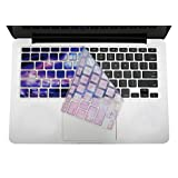 Mosiso Keyboard Cover with Hollow Texture for Macbook Pro 13 Inch, 15 Inch (with or without Retina Display, 2015 or Older Version) Macbook Air 13 Inch, Galaxy Blue
