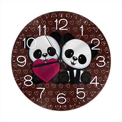 TMVFPYR Panda Bear Wallpaper Wall Clock Silent & Non-Ticking Round Clock Quiet Desk Clock for Home Office School Bears Dimension Wall Clock